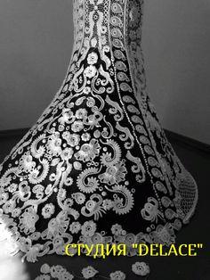 """Свадебное платье """"Жемчужина"""" раскладка на манекене, этап изготовления."""